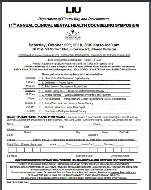 11th annual clinical mental health counseling symposium